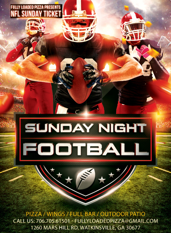 Fully Loaded Pizza Sunday Night NFL Football Flyer